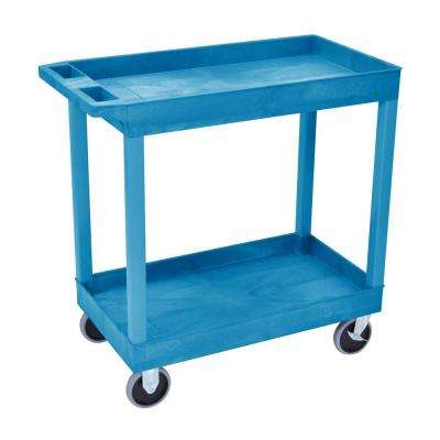 18 in. x 35 in. 2-Tub Shelf Utility Cart, Blue