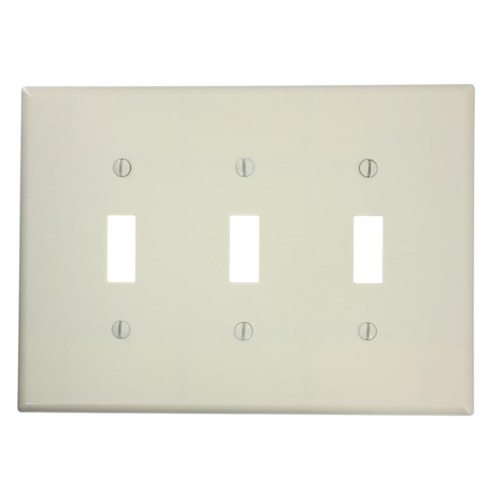3-Gang Midsize Toggle Switch Wall Plate, Ivory