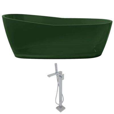 Ember 65.6 in. Man-Made Stone Slipper Flatbottom Non-Whirlpool Bathtub in Emerald Green and Dawn Faucet in Chrome