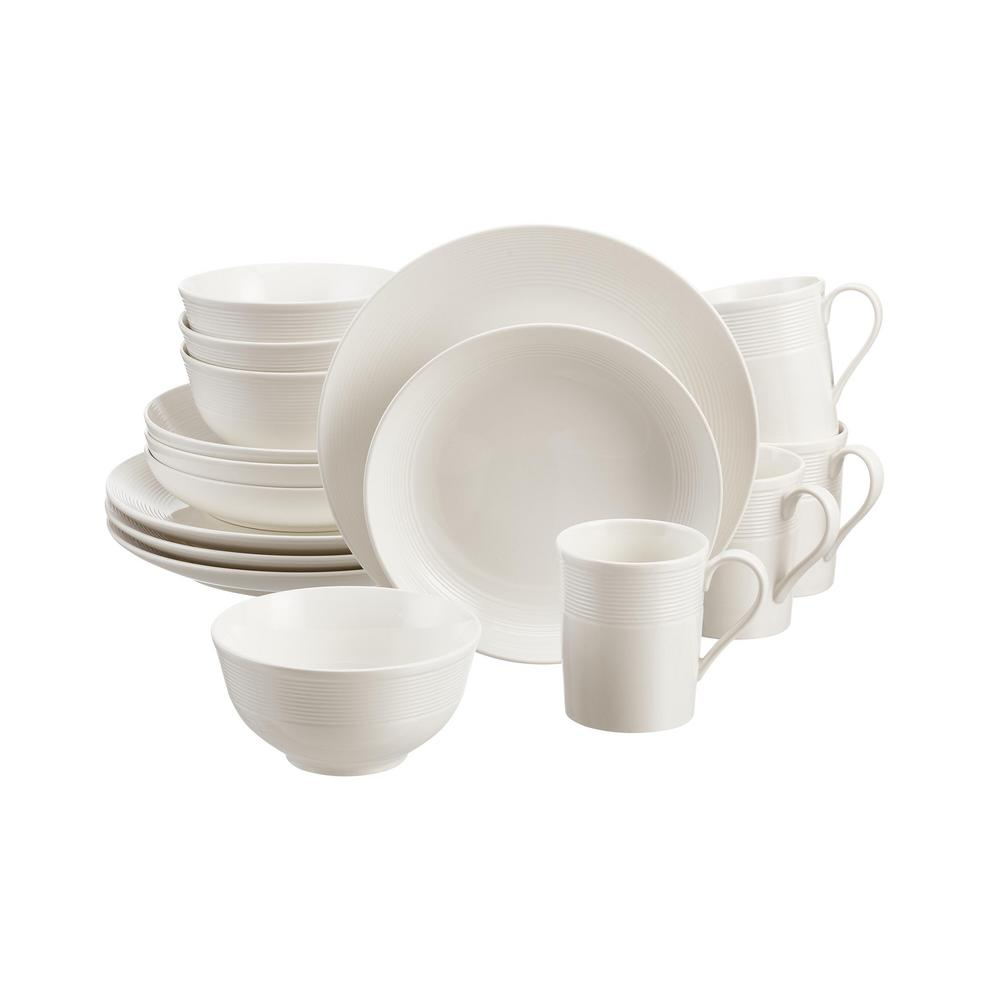Home Decorators Collection Kempton 16-Piece White Stoneware Dinnerware Set (Service for 4) was $49.98 now $24.99 (50.0% off)