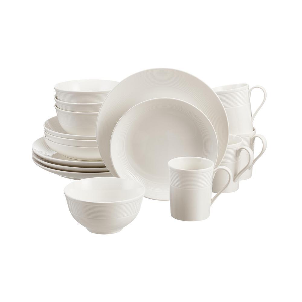 HomeDecoratorsCollection Home Decorators Collection Kempton 16-Piece White Stoneware Dinnerware Set (Service for 4)