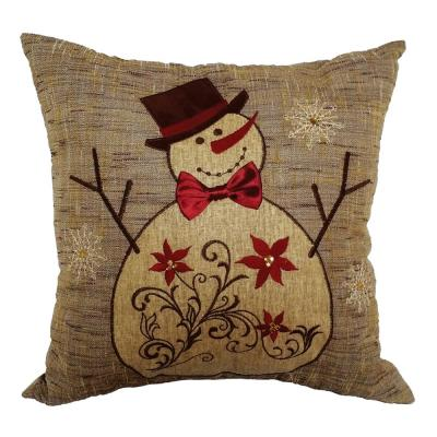 Embroidered Collection 14 in. H x 14 in. W Snowman Pillow