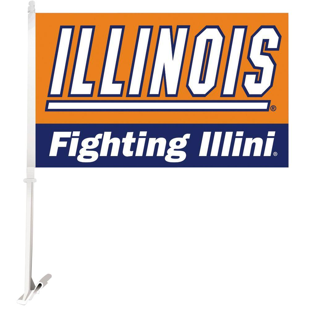 BSI Products NCAA 11 in. x 18 in. Illinois 2-Sided Car Flag with 1-1/2 ft. Plastic Flagpole (Set of 2)
