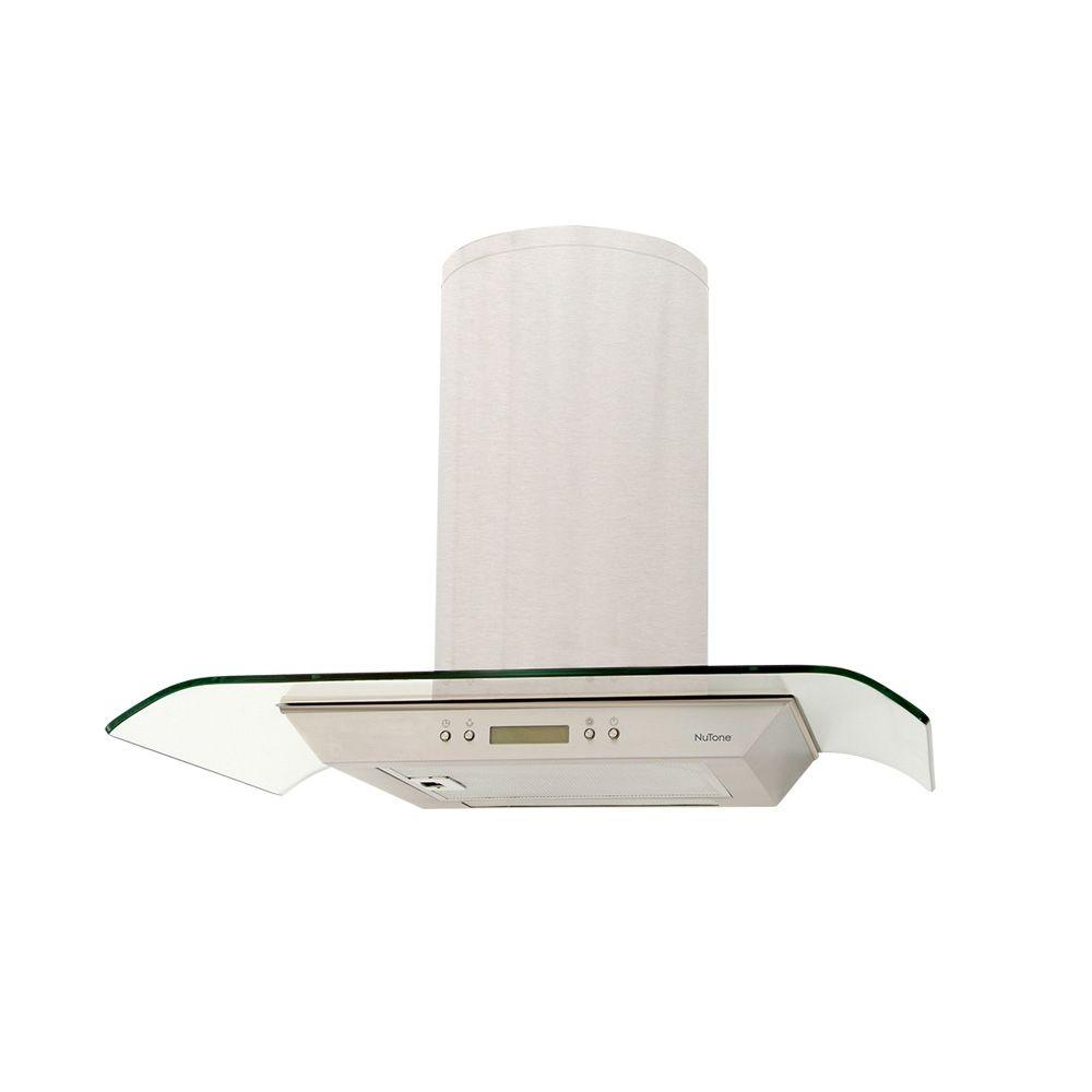 NuTone NS5400 29.5 in. Bent Glass Convertible Chimney Range Hood in Stainless Steel