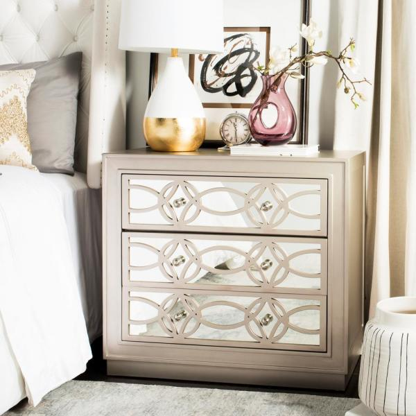 Safavieh Catalina 3-Drawer Champagne/Nickel Chest CHS6400A