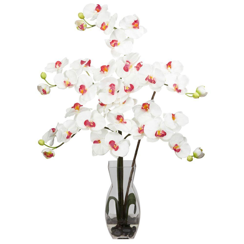 29 in. H White Phalaenopsis with Vase Silk Flower Arrangement