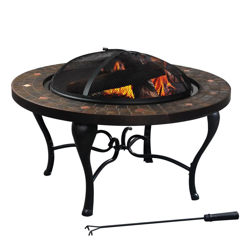 Hampton Bay Bavaria 35 in. Tile Top Fire Pit