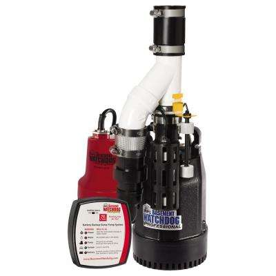 Combo Pre-Assembled 1/3 HP Primary and Battery Backup Sump Pump System with 24-hour a Day Monitoring Controller