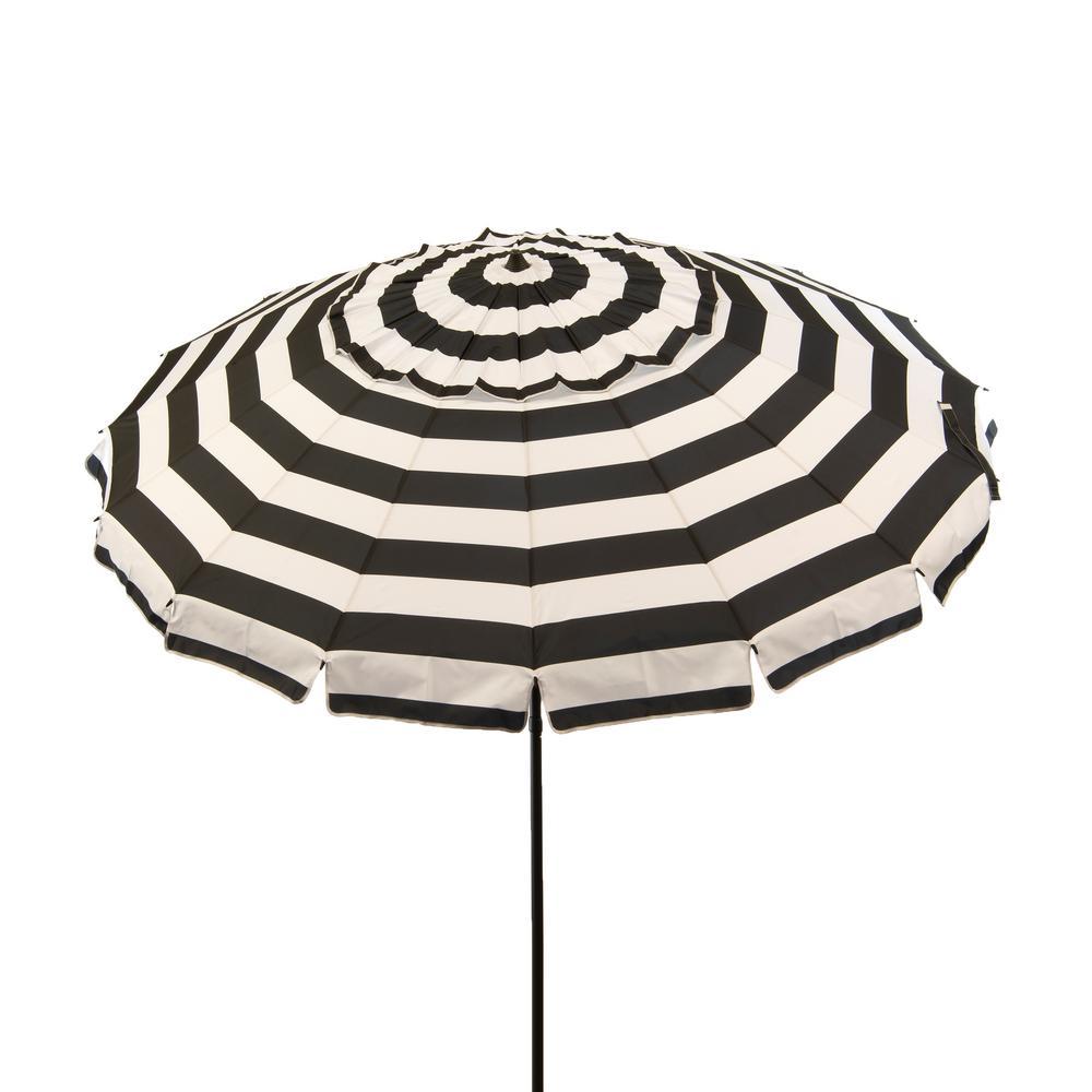 8 ft. Aluminum Market Manual Tilt Beach Umbrella in Black and White Stripe Polyester
