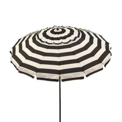 8 ft. Aluminum Market Manual Tilt Beach Umbrella in Black and White Stripe Polyester