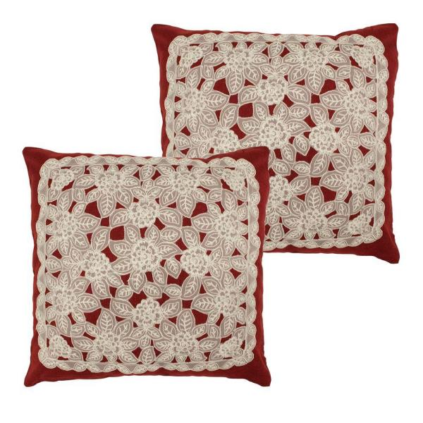 Gretta Burgundy Standard Pillow Cover (Set of 2)