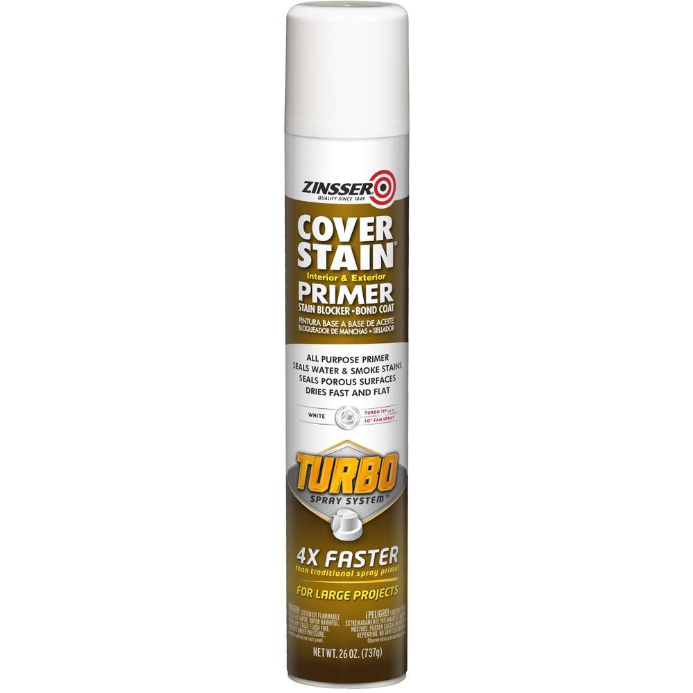 Cover Stain 26 oz. Turbo White Oil-Based Interior/Exterior Primer and Sealer Spray (6-Pack)
