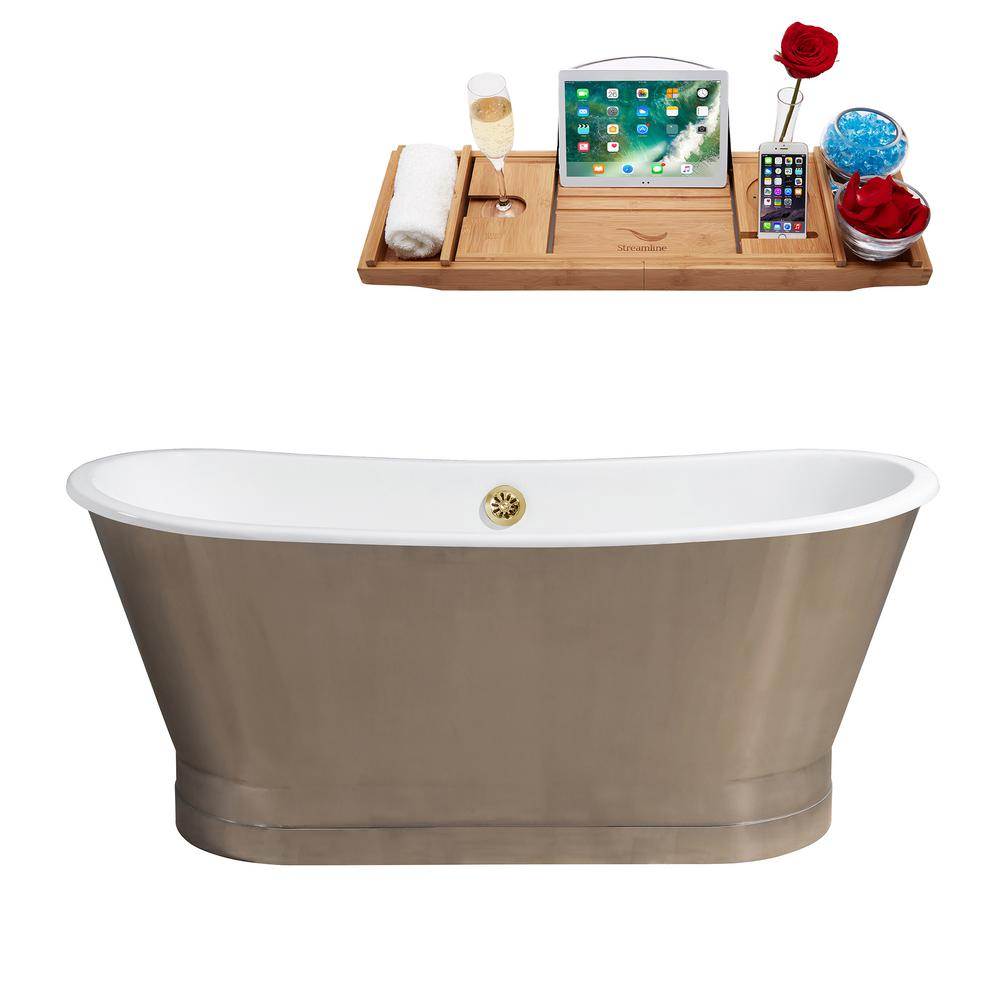 66.9 in. Cast Iron Flatbottom Non-Whirlpool Bathtub in Chrome