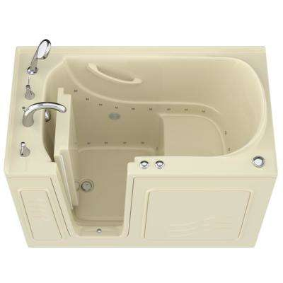 HD Series 30 in. x 53 in. Left Drain Quick Fill Walk-In Air Tub in Biscuit