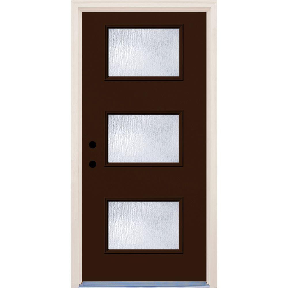 36 in. x 80 in. Right-Hand Earthen 3 Lite Rain Glass Painted Fiberglass Prehung Front Door with Brickmould