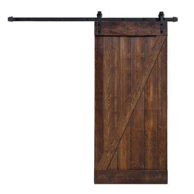 36 in. x 84 in. Z Series Dark Walnut Finished Knotty Pine Wood Barn Door Slab with 6.6 ft. Sliding Door Hardware Kit