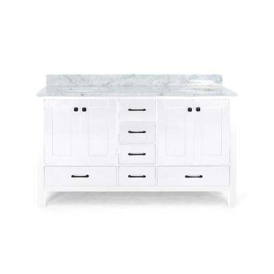 Lyndon 72 in. W x 22 in. D Bath Vanity with Carrara Marble Vanity Top in White with White Basin