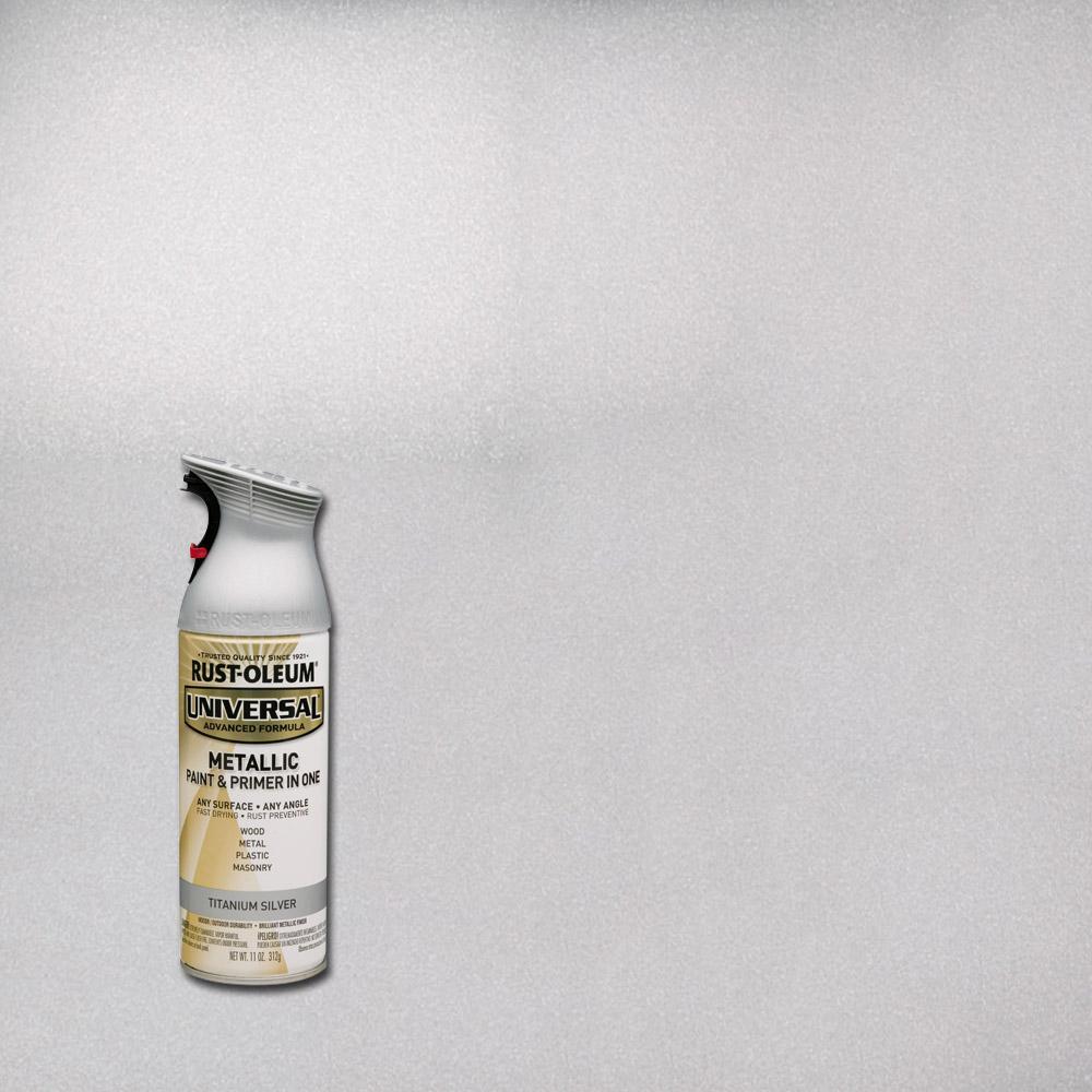 Rust-Oleum Universal 11 oz. All Surface Metallic Titanium Silver Spray Paint and primer in 1
