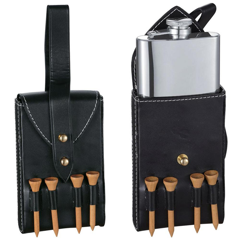 Visol Puck Liquor Flask with Black Leather Wrap and Golf ...