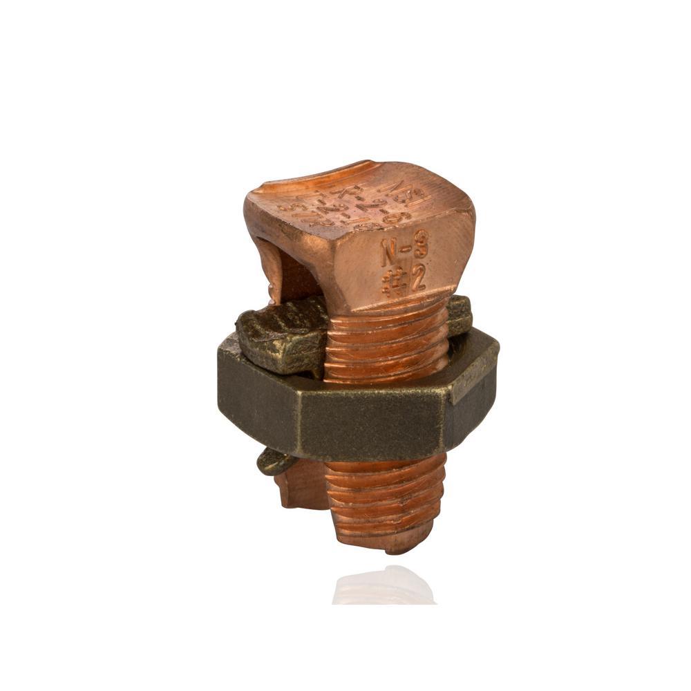2 AWG Copper Split Bolt- 1 Count