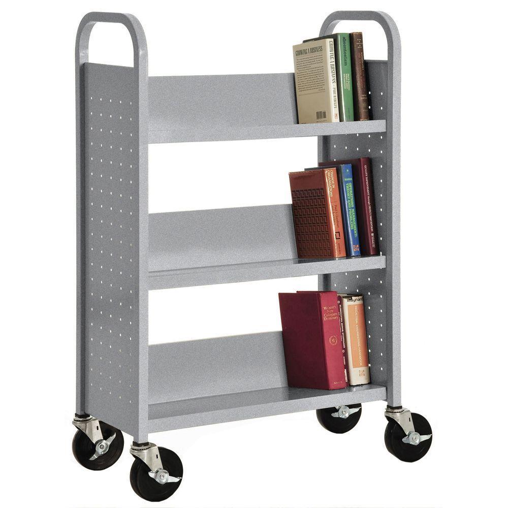 32 in. W x 14 in. D x 46 in. H Single Sided 3-Sloped Shelf Booktruck in Multi-Granite