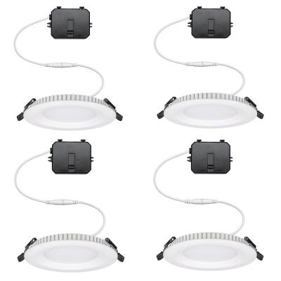 Ultra Slim 4 in. Canless Color Changing Integrated LED Recessed Trim All-in-One Downlight 650 Lumens Dimmable (4-Pack)