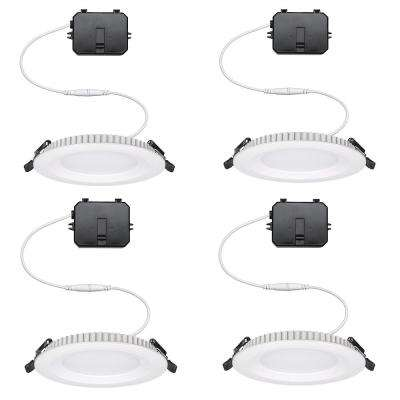 Ultra Slim 4 in. Selectable Integrated LED Recessed Trim Downlight Canless Lighting 650 Lumens Dimmable (4-Pack)