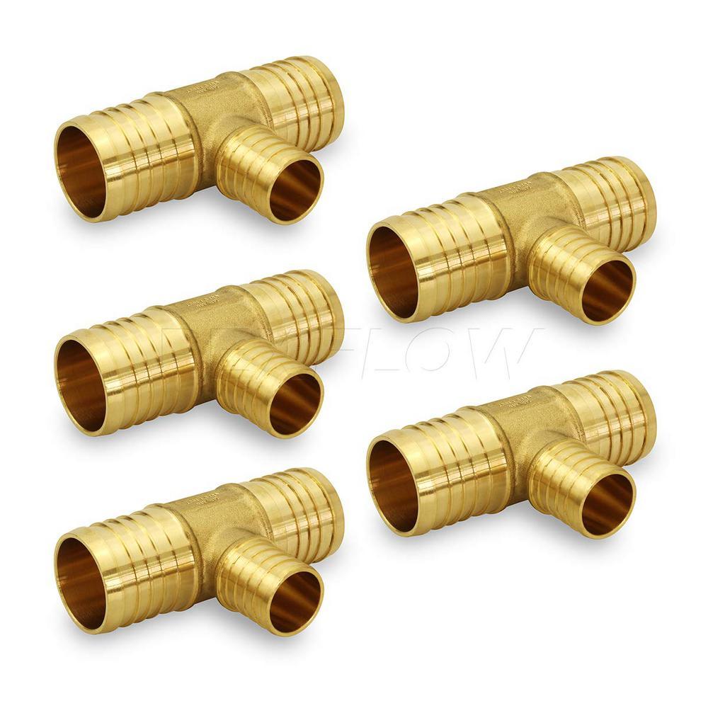 1 in. x 1 in. x 1/2 in. Brass PEX Barb Reducing Tee Pipe Fittings (5-Pack)