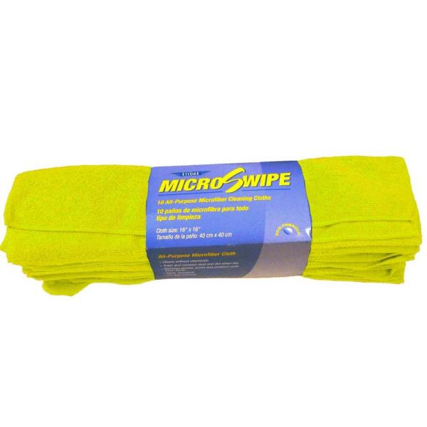 16 in. x 16 in. Yellow MicroSwipe and Microfiber Cleaning Cloths (10-Pack)