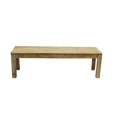 Natural Wood Distressed Customary Styled Bench in Minimal Style