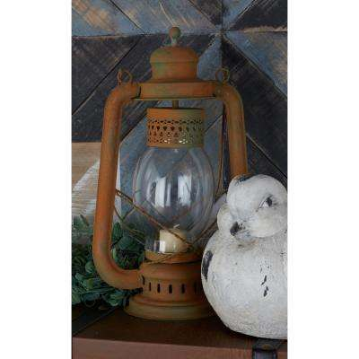 23 in. Gray Glass Bulb Candle Lanterns (Set of 2)