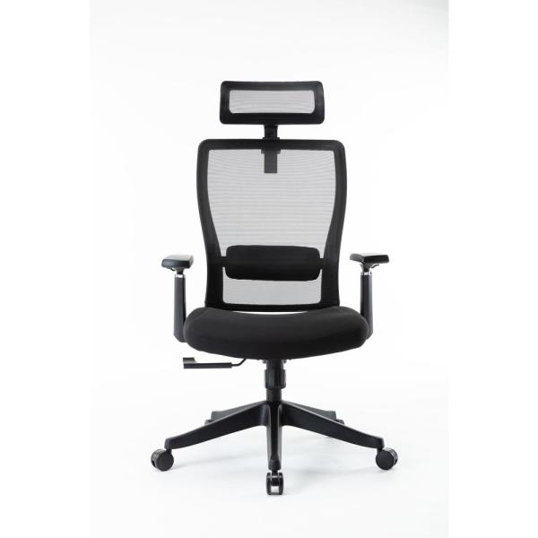 Black High Back Fabric Office Luxury Ergonomic Executive Chair with Lumbar Support