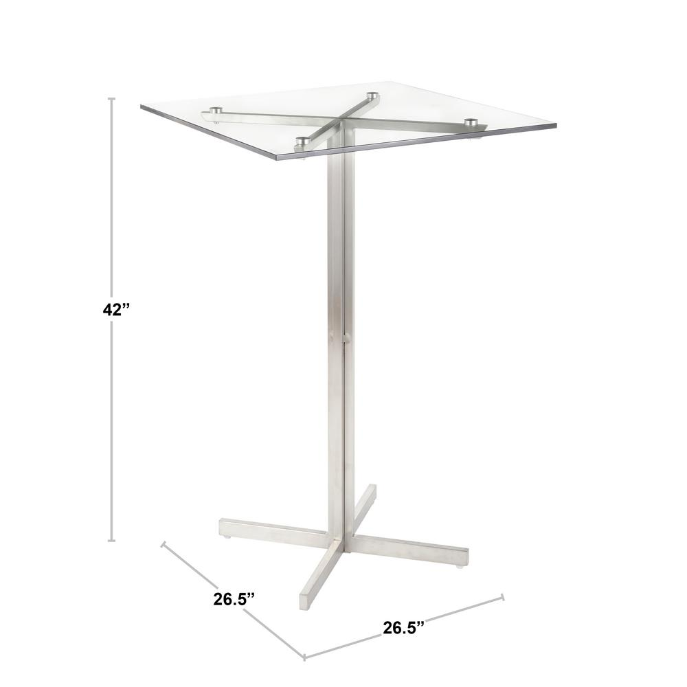 Fuji Stainless Steel Square Bar Table With Clear Gl Top
