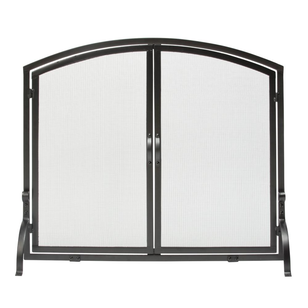 2eb30ac4f61 UniFlame Black Wrought Iron Single-Panel Fireplace Screen with Doors ...