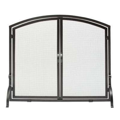 Fabulous Black Wrought Iron 39 In W Single Panel Durable Fireplace Screen With Doors And Heavy Guage Mesh Home Interior And Landscaping Ologienasavecom