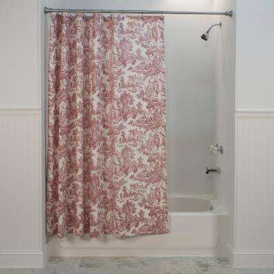 Victoria Park Toile 72 in. L Red Shower Curtain