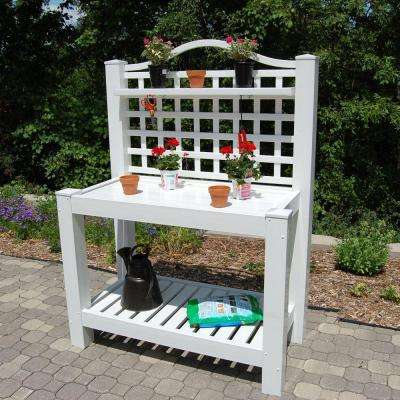 52 in. W x 26 in. D x 72 in. White Vinyl Berkshire Potting Bench