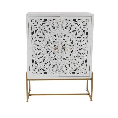 31 in. x 42 in. Square Traditional Style Carved Wood White Cabinet on Metallic Gold Iron Stand