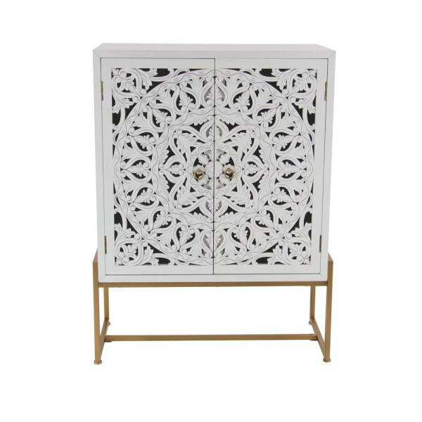 Litton Lane 31 in. x 42 in. Square Traditional Style Carved Wood White Cabinet on Metallic Gold Iron Stand