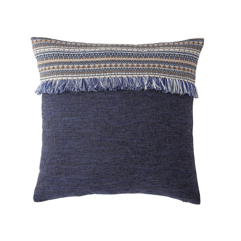 Morgan Home 18 In Evelyn Blue Fringed Throw Pillow Cover