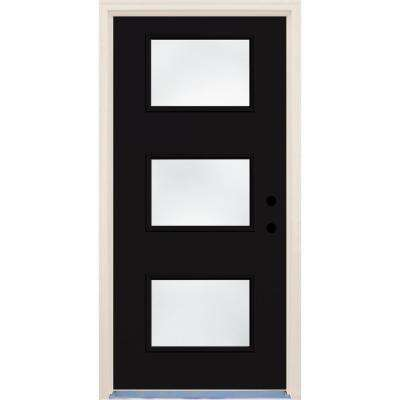 36 in. x 80 in. Inkwell 3 Lite Clear Glass Painted Fiberglass Prehung Front Door with Brickmould