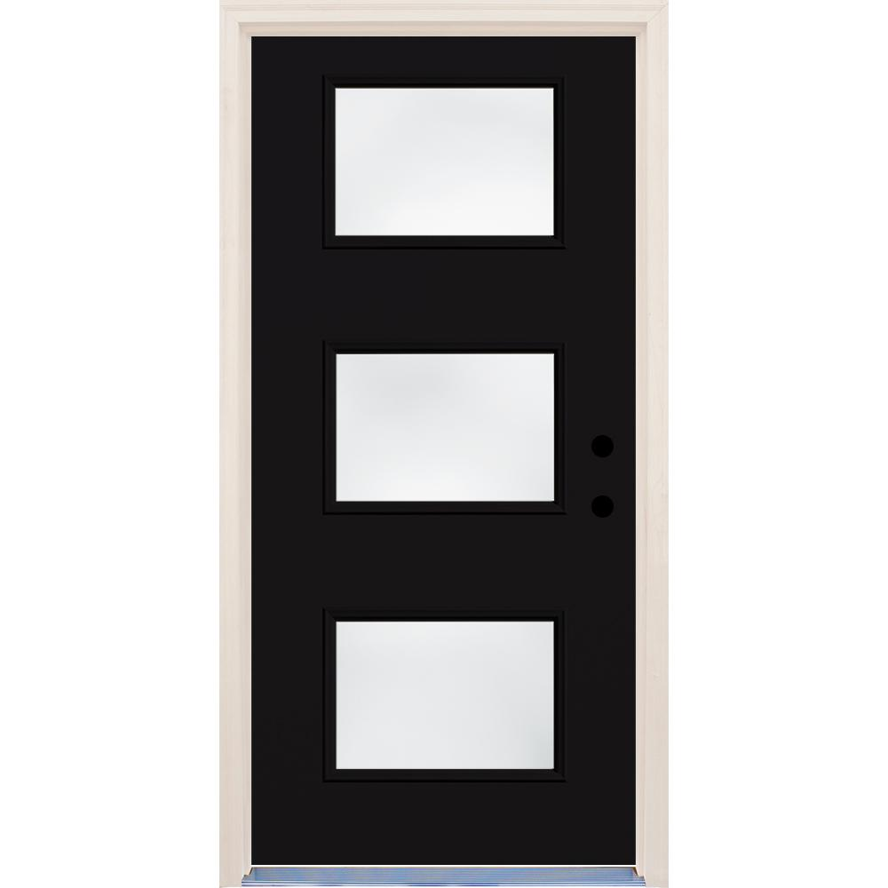 Builders Choice 36 in. x 80 in. Inkwell Left-Hand 3 Lite Clear Glass Painted Fiberglass Prehung Front Door with Brickmould