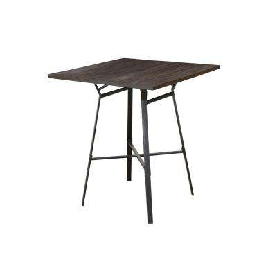 Dora 5-Piece Weathered Dark Oak and Black Bar Table Set