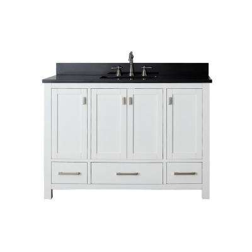Modero 49 in. W x 22 in. D x 35 in. H Vanity in White with Granite Vanity Top in Black and White Basin