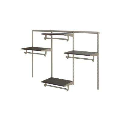 Closet Culture 16 in. D x 72 in. W x 48 in. H Steel Closet System with 4 Espresso Wood Shelves