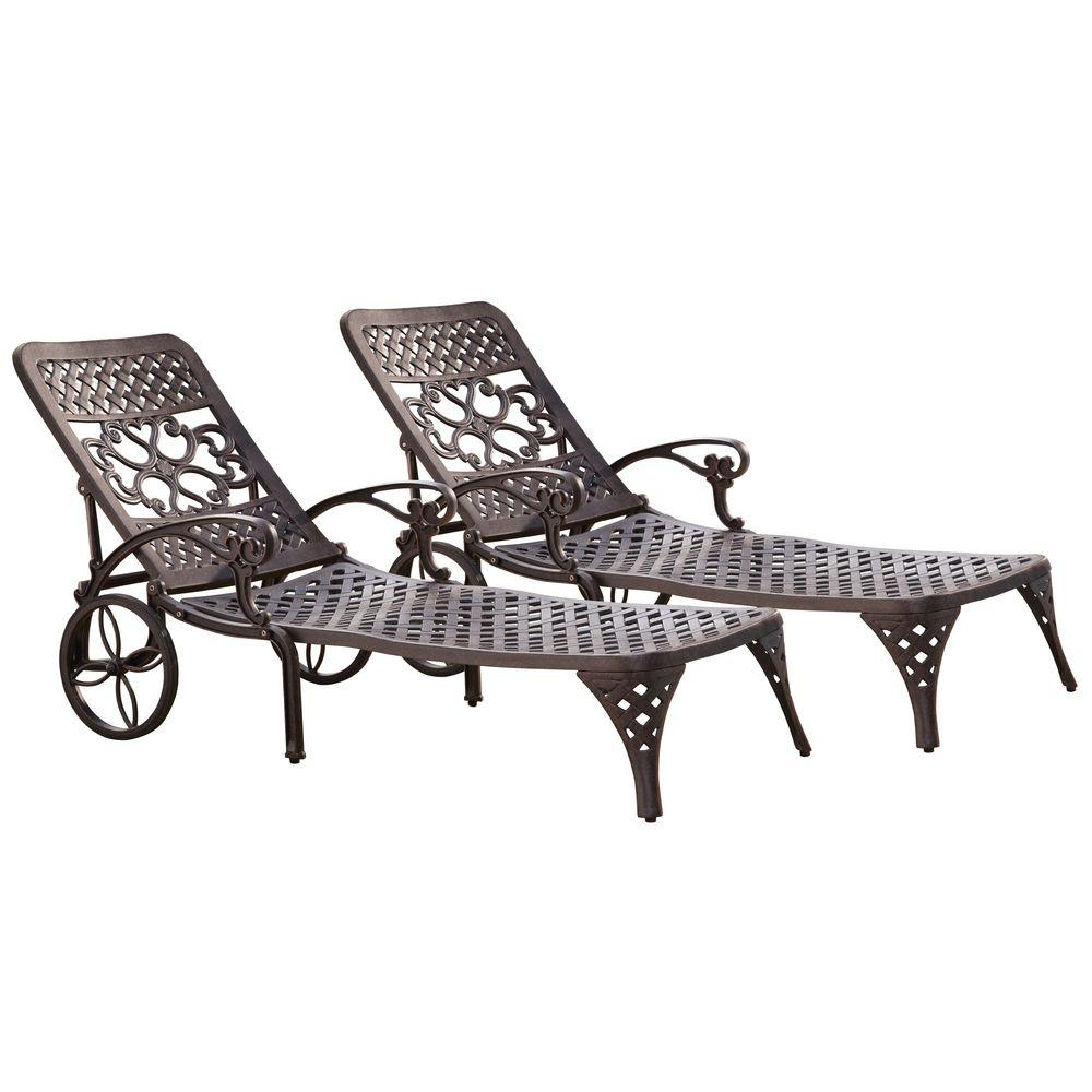Biscayne Bronze Patio Chaise Lounge (Set of 2)