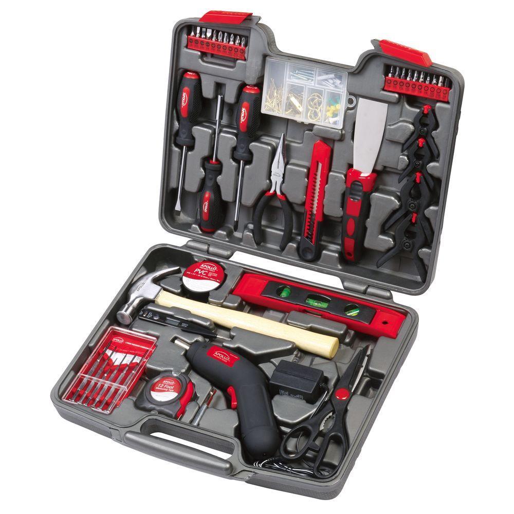 Apollo Household Tool Kit with 4.8-Volt Cordless Screwdriver (144-Piece)