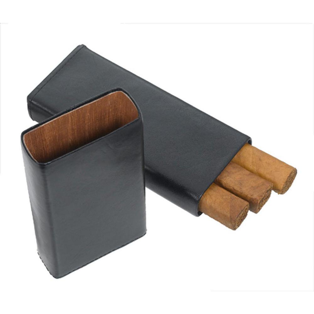 Aristocrat Genuine Black Leather 3-Finger Cugar Case
