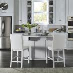 Linear White Kitchen Island and 2-Bar Stools