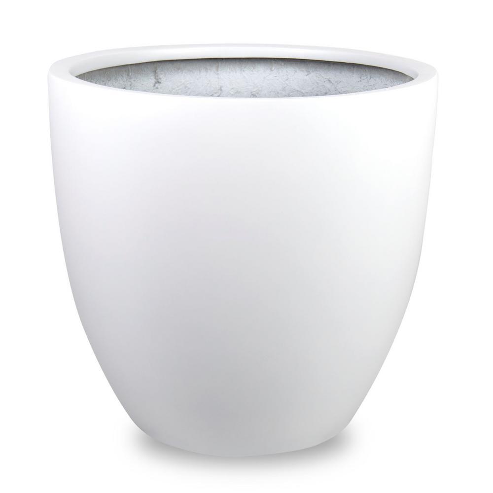 Loire 15 in. Dia White Fiberglass Pot